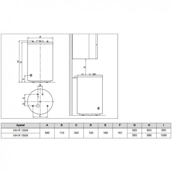 Boiler cu 1 serpentina Vaillant VIH R 150/6 - 150 Litri